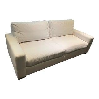 Restoration Hardware White Linen Maxwell Sofa For Sale