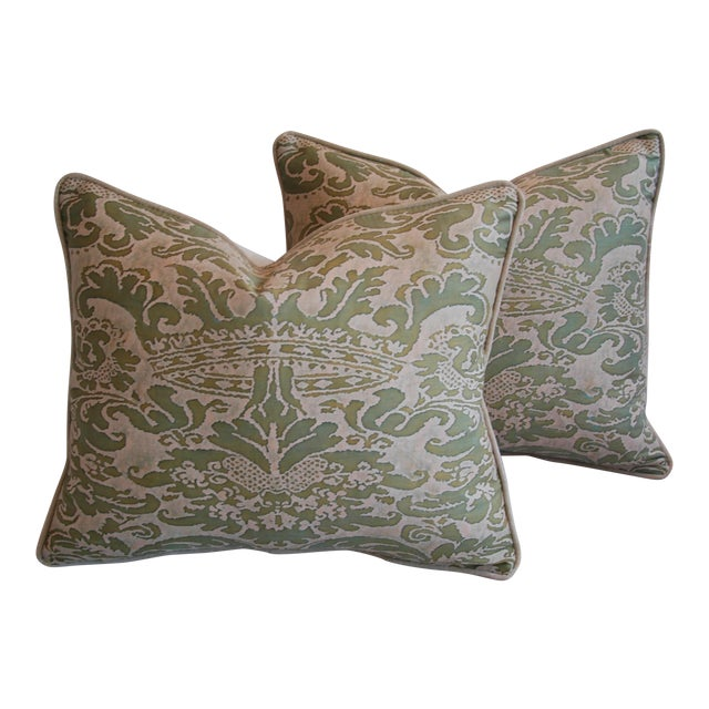 Italian Fortuny Corone Crown Down Pillows - A Pair - Image 1 of 11