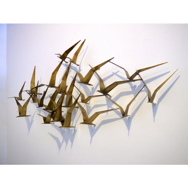 "Gold 1968 C. Jere Brass Brutalist "" Birds in Flight"" Wall Sculpture For Sale - Image 8 of 8"