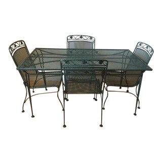 Mid Century Modern Salterini Wrought Iron Patio Set- 5 Pieces For Sale