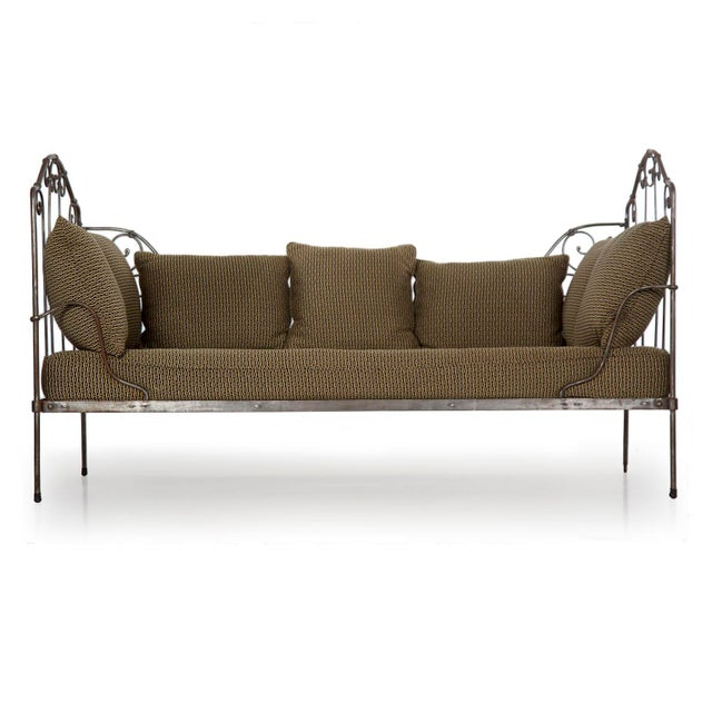 Antique French Wrought Iron Campaign Style Daybed Sofa For Sale - Image 13 of 13