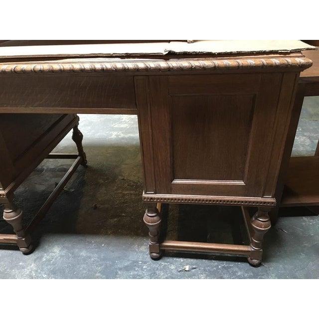 Antique English Tiger Oak Carved Desk - Image 9 of 10