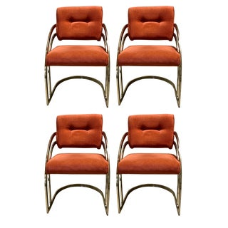 1980s Vintage Cantilevered Dining Chairs- Set of 4 For Sale