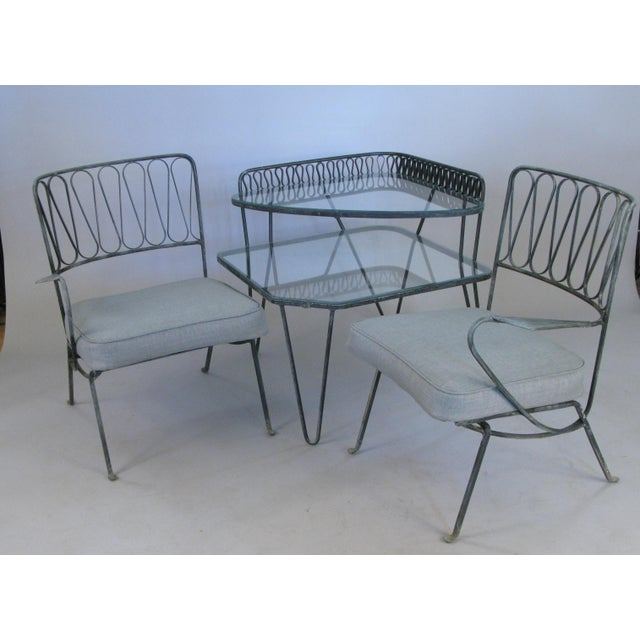 Italian Pair of Italian 1950s Lounge Chairs and Table by Salterini For Sale - Image 3 of 9