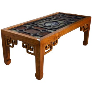 Antique Wood Coffee Table with Stained Glass Top from 19th Century, China For Sale
