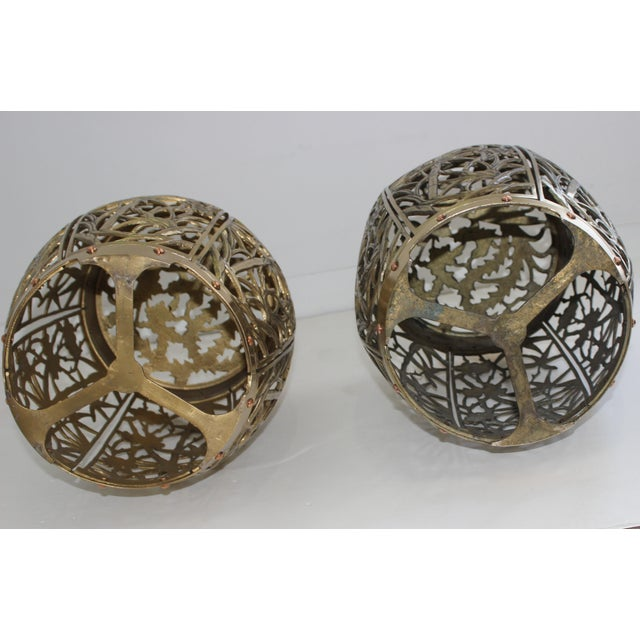 Garden Stools Bamboo Crane Bird Cherry Blossom Motif in Polished Brass Fretwork - a Pair For Sale - Image 4 of 11