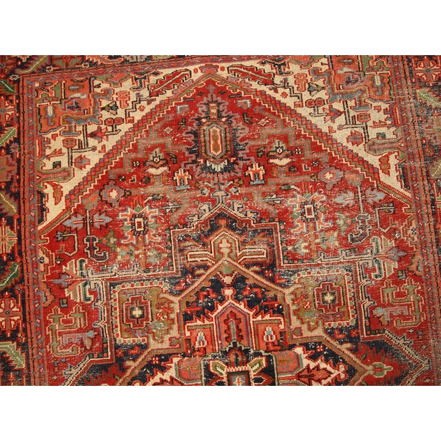 1920s Hand Made Antique Persian Heriz Rug - 5′7″ × 8′1″ - Image 7 of 10