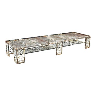 Antique Rustic Patinated Cast Iron Ornate Patio Garden Coffee Table Bench Daybed For Sale