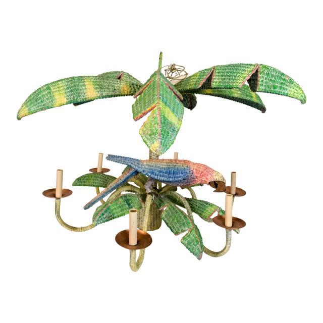 Mario Torres Wicker Parrot Chandelier For Sale