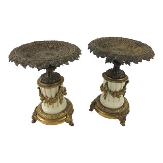 Louis XVI Style Bronze and Marble Cassoulets - A Pair For Sale