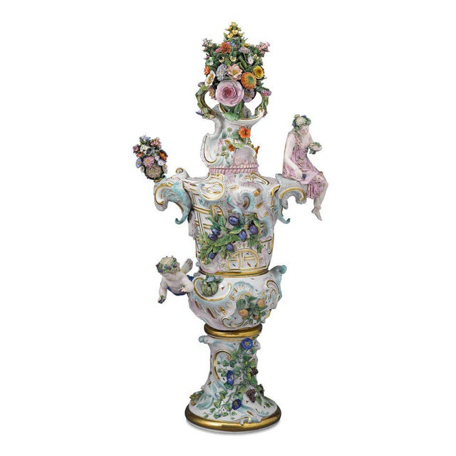 Rococo Meissen Autumn and Summer Porcelain Urns For Sale - Image 3 of 7