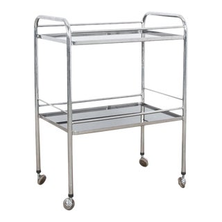 1960s Chrome Metal Bar Cart For Sale