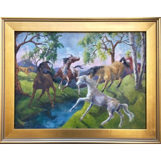 Vintage Expressionist Horse Painting by Joan Adams For Sale