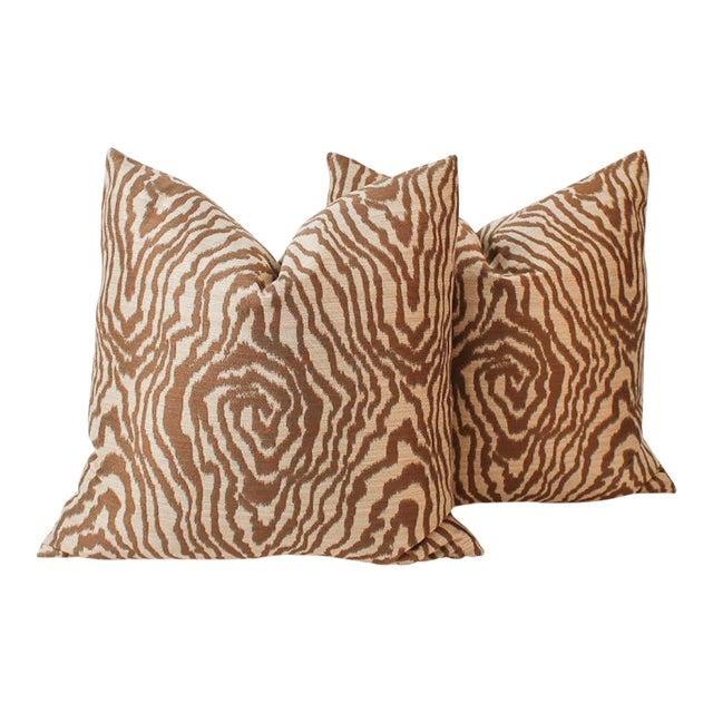 Sateen Faux Bois Tiger Pillows, a Pair For Sale