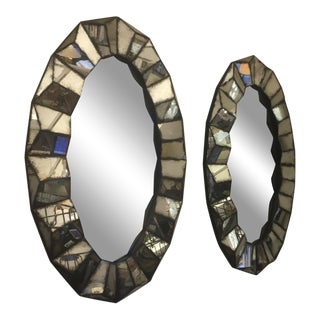 Superb Pair of Old Oxidized Faceted Mirrors For Sale