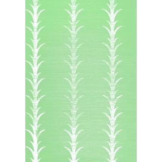 Schumacher X Celerie Kemble Acanthus Stripe Wallpaper in Seaglass & Chalk For Sale