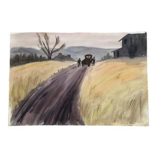 1960s Country Large California Watercolor Landscape Painting For Sale