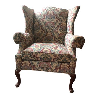 Vintage Floral Wingback Chair For Sale