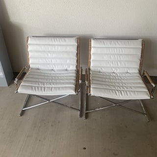 Contemporary Reupholstered Chrome Boat Chairs - a Pair Preview
