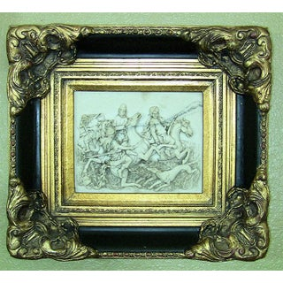 19c Indo Persian Framed Marble Plaque of Wild Boar Hunt Preview