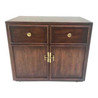 Stanley Midcentury Nightstand With Brass Hardware