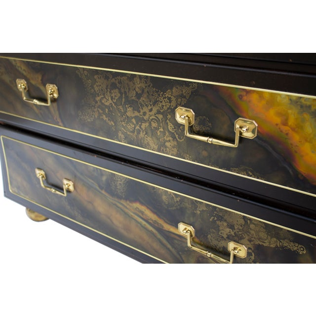 Chest Dresser in Acid-Etched Brass by Bernhard Rohne for Mastercraft For Sale - Image 11 of 13