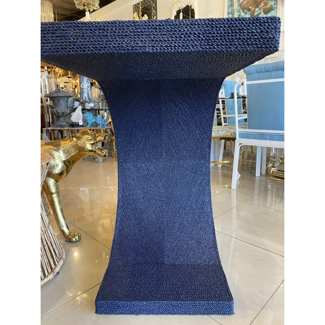 1970s Vintage Karl Springer Style Navy Blue Lacquered Rope Console Table For Sale - Image 5 of 13