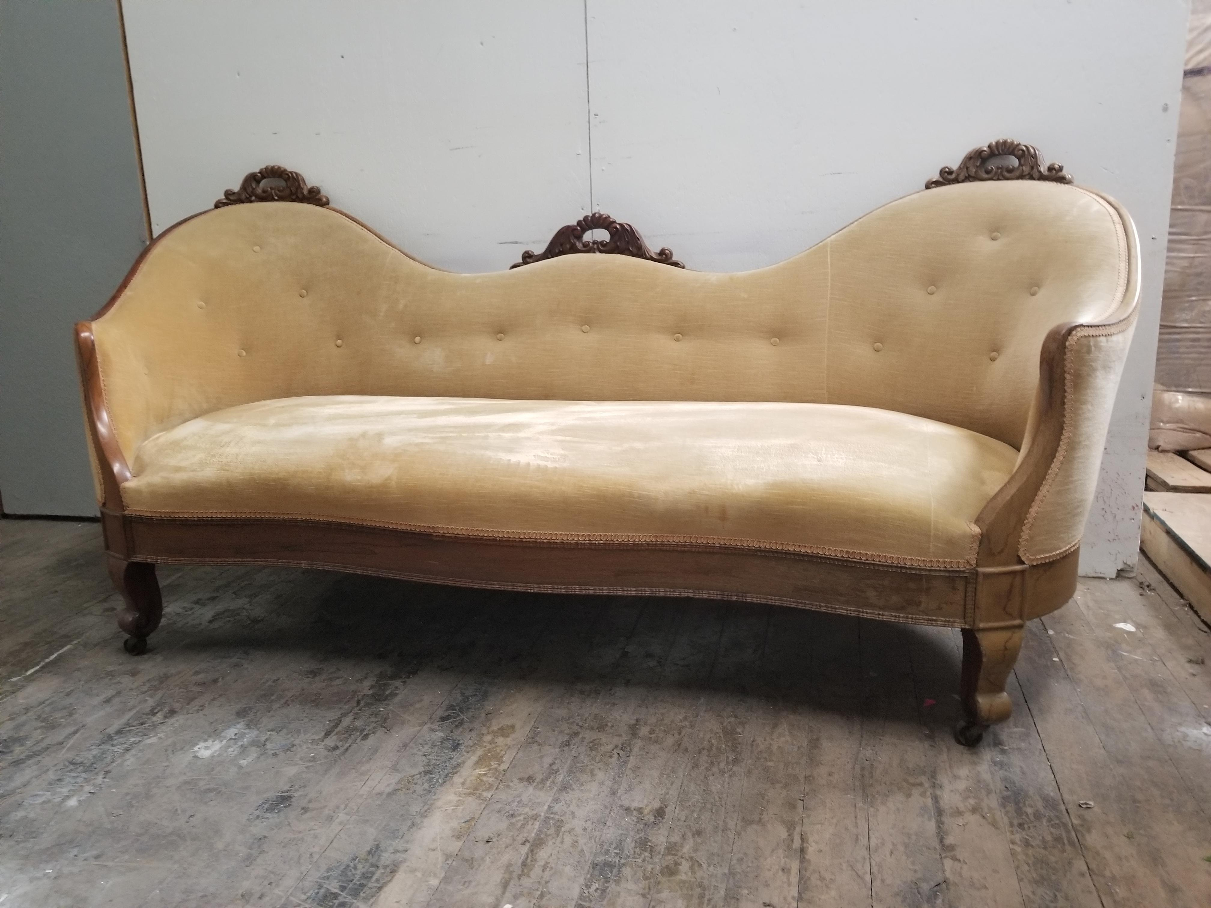 Antique Victorian Gold Velvet Couch   Vintage Carved Wood French Provincial  Sofa   Image 3 Of