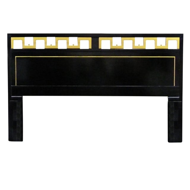 Greek Key Black & Gold Lacquered King Headboard For Sale