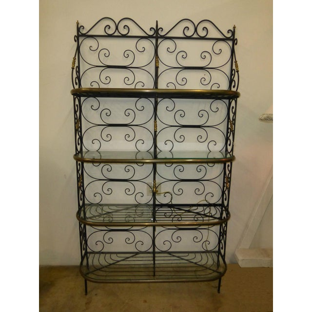 Vintage Baker's Rack Solid Wrought Iron W Solid Brass Hardware Bookcase - Image 6 of 11