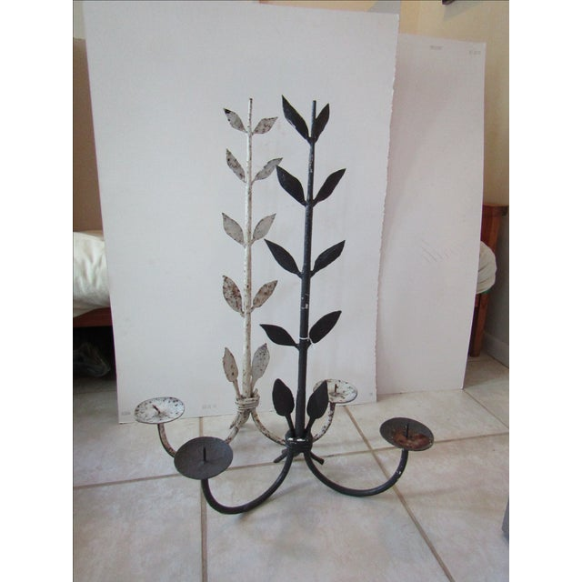 Antique Hand Forged Iron Candle Holders - Pair - Image 2 of 3