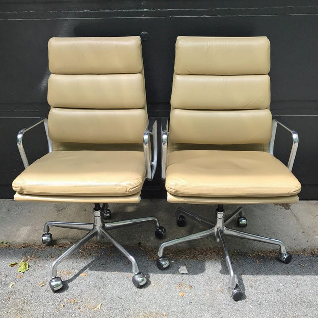 Eames High Back Executive Leather Chairs A Pair Chairish
