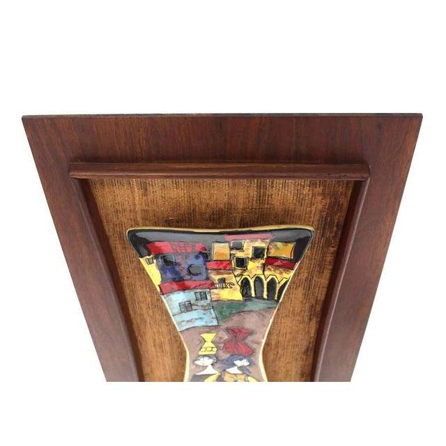 Walnut Set of Three Framed Art Tiles For Sale - Image 7 of 9