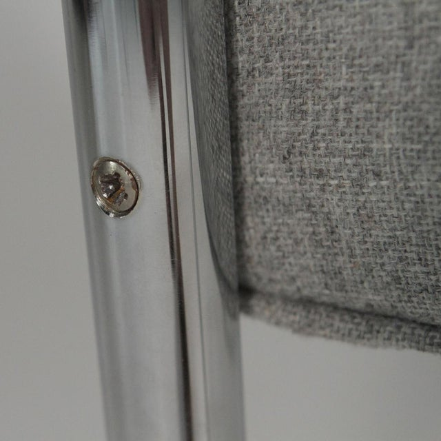 Silver 1970s Mid-Century Modern Grey Linen Chrome Tube Armchairs - a Pair For Sale - Image 8 of 10