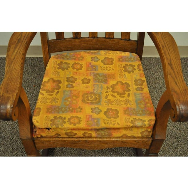 Antique Mission Arts & Crafts Carved Solid Oak Rocking Lounge Chair Rocker Vintage For Sale In Philadelphia - Image 6 of 11