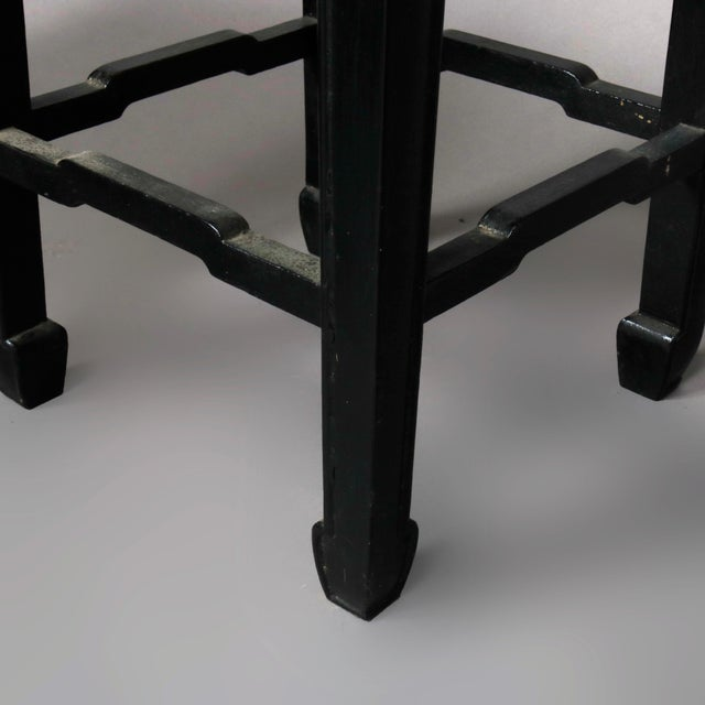 Vintage Black Lacquered Chinese Side Stands, 20th Century - Set of 4 For Sale - Image 12 of 13