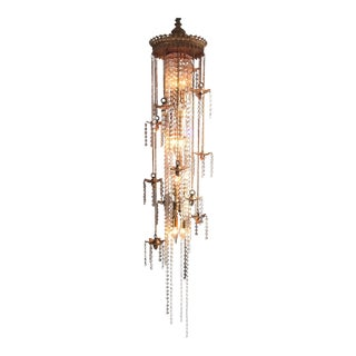 Golden Brass and Crystal Column Chandelier Lamp For Sale