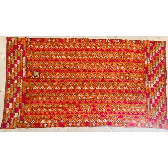 Phulkari Wedding Shawl, Silk Embroidery on Cotton, Punjab India 20th Century For Sale - Image 13 of 13