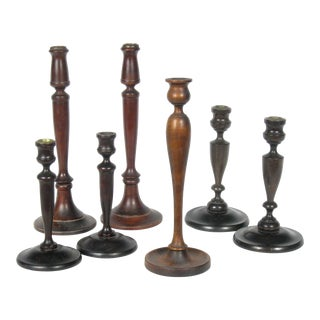 Antique Mahogany Candlesticks - Set of 7