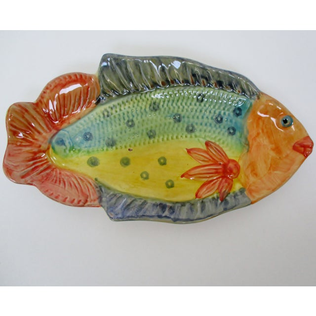 Late 20th Century Italian Hanging Fish Plates, Set of 3 For Sale - Image 5 of 8