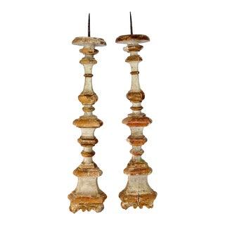 18th Century Italian Wood Pricket Sticks Candleholders - a Pair