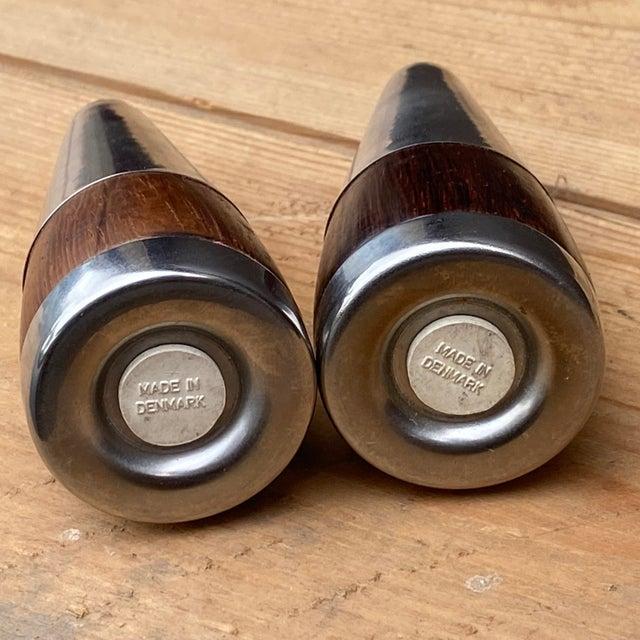 Vintage Danish Rosewood & Stainless Steel Salt & Pepper Shaker Set- a Pair For Sale In Philadelphia - Image 6 of 13