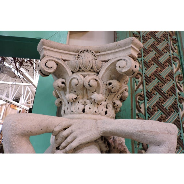 Limestone Pair of 19th Century Carved Stone Caryatids From Venice For Sale - Image 7 of 9