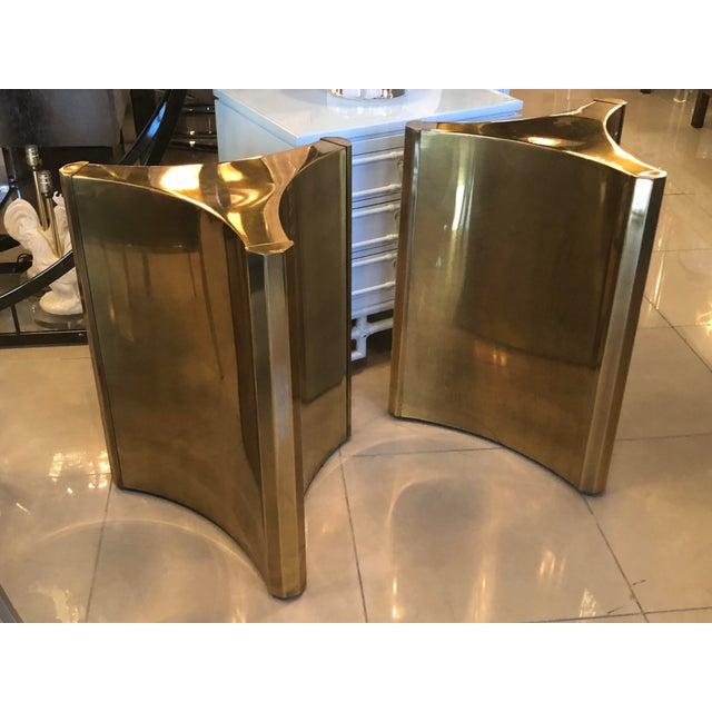 Brass Vintage Brass Pedestal Mastercraft Dining Table or Desk Base -A Pair For Sale - Image 7 of 11