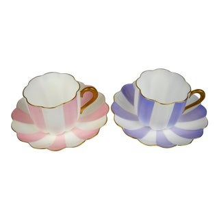 Japanese Nikko Porcelain Striped Cups and Saucers, Set of 2