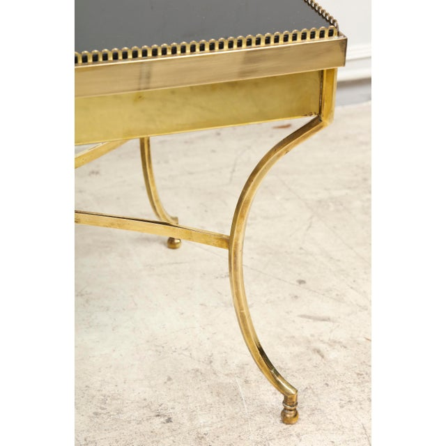 Brass Coffee Table with Smoked Glass and Galleried Top For Sale - Image 4 of 8