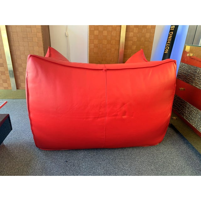 B&B Italia 1970s Le Bambole Armchairs Red Leather by Mario Bellini for B&b Italia For Sale - Image 4 of 13