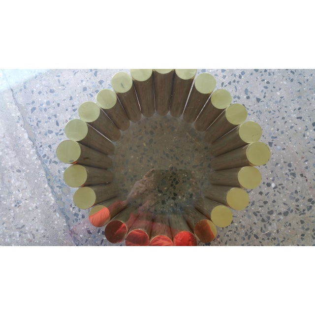 1980's Karl Springer Style Brass Lucite & Glass Cocktail Table - Image 7 of 10