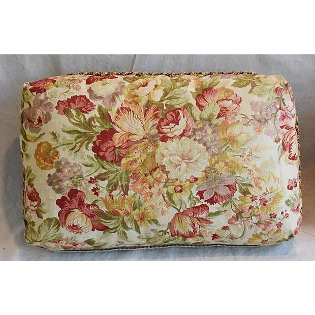 "24"" x 15"" Custom Tailored English Floral Linen Feather/Down Pillows - Pair - Image 2 of 11"
