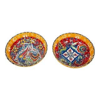 "Turkish Handmade Floral Ceramic 6"" Bowl 2 Piece Set For Sale"